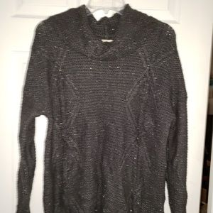 Cowl neck sweater woven w/ thin silver threads